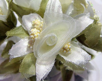 Organza and Fabric Star Flower Embellishments in Ivory