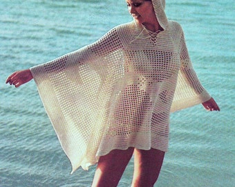 INSTANT DOWNLOAD PDF Vintage Crochet Pattern    Hooded Beach Cover Up Tunic Poncho Kaftan