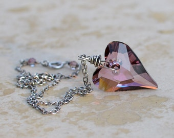 Valentine Necklace - Antique Pink Swarovski Crystal Wild Heart Pendant - Oxidized Sterling Silver Chain - Large 27mm pendant - Sweet On You