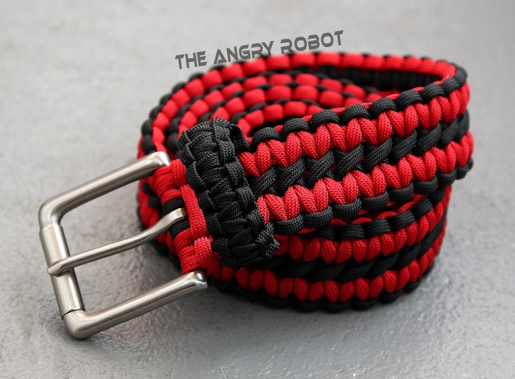Paracord belt black and red with matte nickle buckle xs s for How to make a belt out of paracord