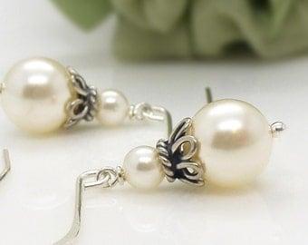 Wedding ivory pearl earrings, Vintage style Sterling silver Ivory pearl Wedding jewellery, Ivory pearl drop earrings