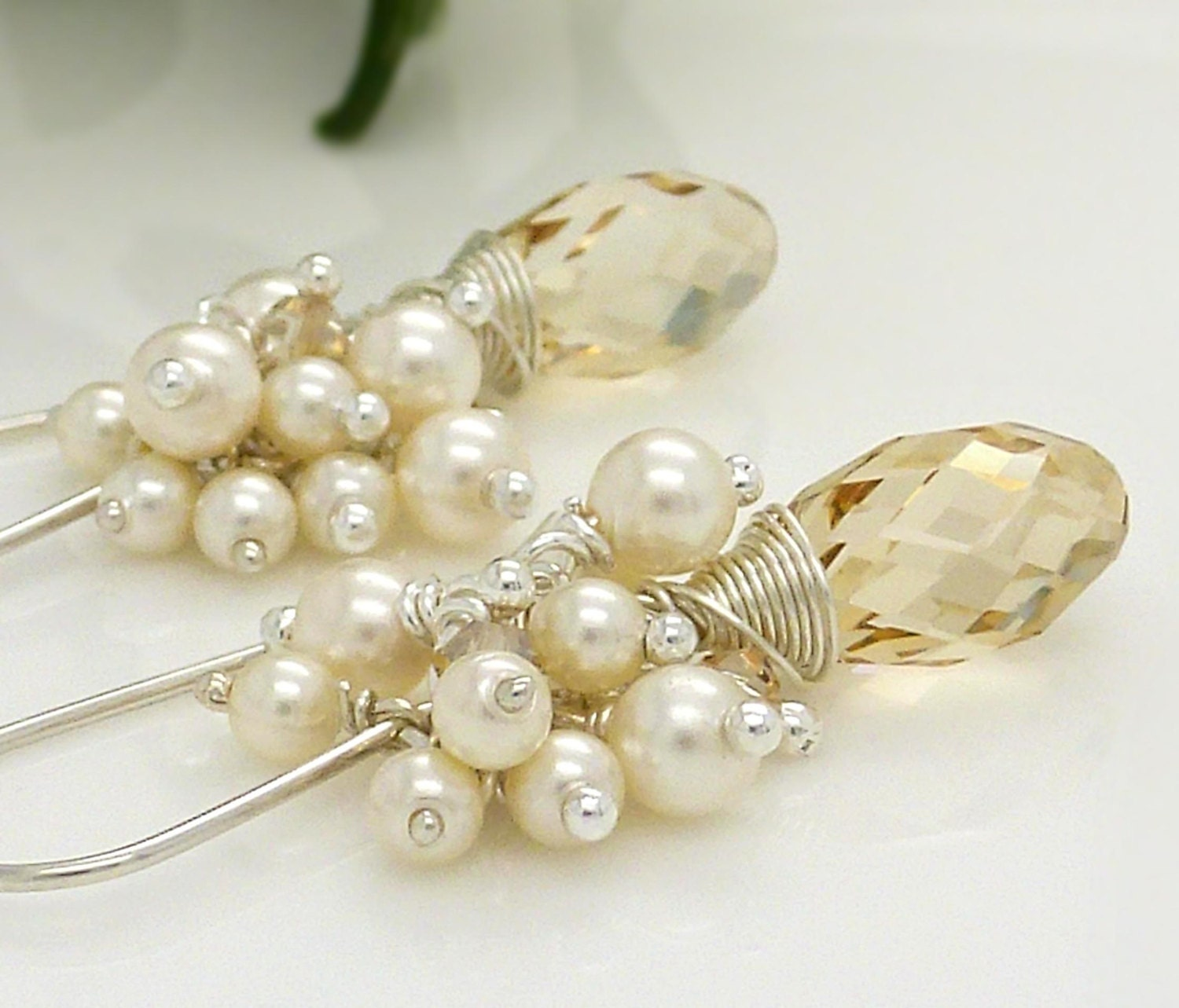 Champagne earrings pearl cluster earrings bridal jewelry for Jewelry for champagne wedding dress