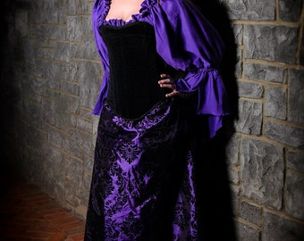 Purple Blouse, Chemise, Steampunk, Renassiance, Cosplay, Cotton, Clothing