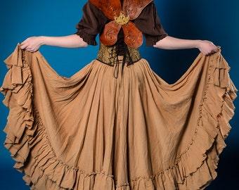 Tan Saloon Girl Skirt, Steampunk, Cotton, Pirate, Long Ruffle Skirt, Hi-Lo Styled, Victorian, Western, Wild West World, Airship, Renaissance