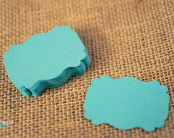 Aqua Pearlescent Card stock Die cut Tags / Place Cards - Set of 50