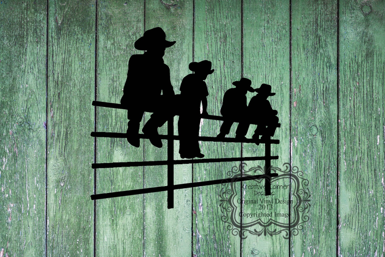 Cowboy Kids Sitting On Fence Vinyl Decal By Kreativecorner