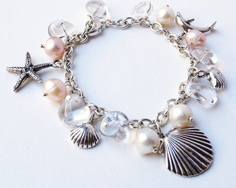 Beach Bracelet. Beach wedding bracelet. Starfish, Dolphin, Pearls Crystals Bracelet