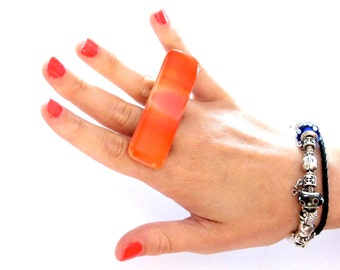 Double Finger Ring Glass - big bold handmade multi finger ring - SUMMER LOVE - 2. 8 inch