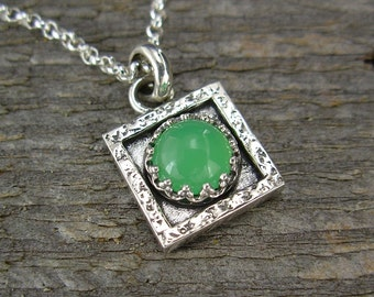 Chrysoprase Necklace - Tiny Square Chrysoprase Pendant on Chain - Sterling Silver Gemstone Pendant