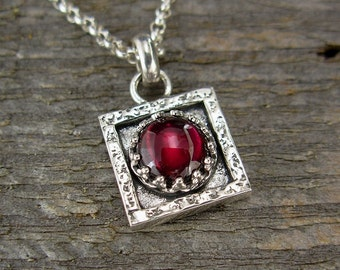 Garnet Necklace - Tiny Square Garnet Pendant on Chain - Sterling Silver Gemstone Jewelry