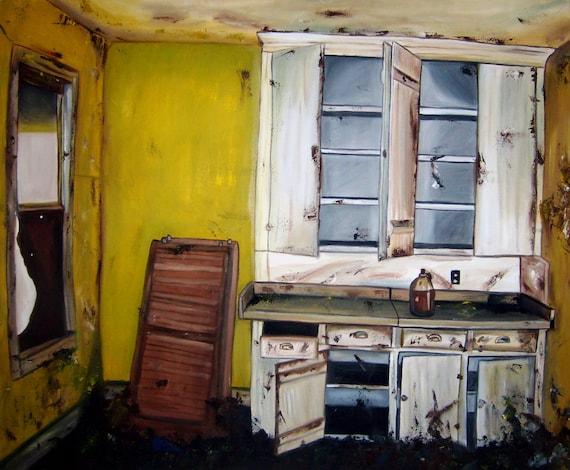 items similar to rustic yellow kitchen original oil