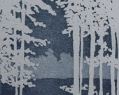 Moon Lite Forest: wall art decor, seacape, ocean, blue, a hand pulled limited edition etching
