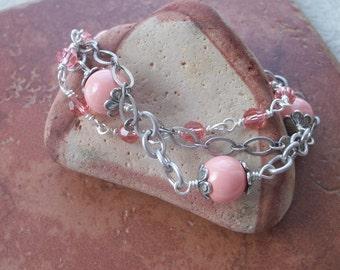 Coral Bells Bracelet - Swarovski Pink Coral Pearls & Rose Peach Crystals, Antique Silver Chain - Springtime Bracelet