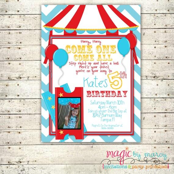Digital Custom Chevron Carnival  Birthday Invitation