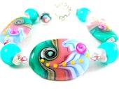 Coral Teal Lampwork Glass Bead Bracelet, Colorful Pastel Beadwork Bracelet, Teal Coral Pink Blue Purple Glass Bracelet - Watermelon Splash