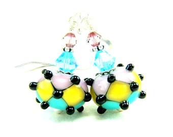 Pastel Geometric Earrings, Dangle Earrings, Lampwork Earrings, Geometric Jewelry, Glass Earrings, Pink Yellow Turquoise Blue - Playground