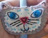Ms Lyla Pusskins Eco Felt Cat Headband Fascinator Grey Kitty
