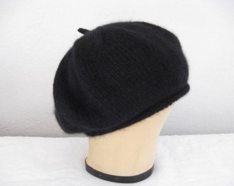 Black Angora and Wool Beret. Accessories. Hand Knit Hat.