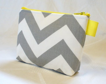 Clearance SALE Chevron Fabric Gadget Pouch Cosmetic Bag Zipper Pouch Makeup Bag Cotton Zip Pouch Gray Yellow White