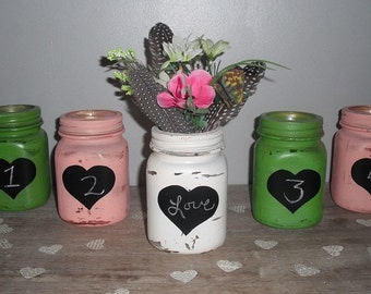 5 upcycled painted vintage Lamb Mason jars ... Spring colors ... chalkboard hearts 4 tables or centerpiece