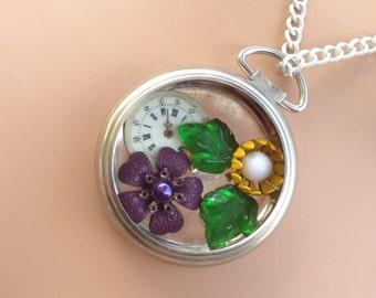 multi-colored garden pocket watch case necklace -361