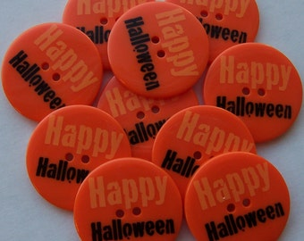 Orange Halloween - Buttons - 1 3/8 inch x 10 - LAST ONE