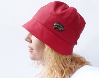 Waxed Cotton Rain Hat - Red