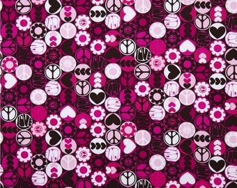 Michael Miller Pink and Black Peace Button Fabric- 1 yard