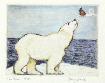 "Original ""Sea Bear"" Drypoint Watercolor Painting"