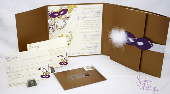 Masquerade Wedding Invitation Masquerade Ball Invitation