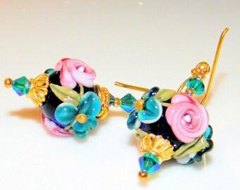 Handmade Lampwork Beads Earrings,Vermeil Gold and Swarovski Crystal  Earrings, Christmas Gift,Flower Earrings
