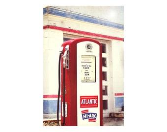 Red White Blue Atlantic Gas Pump Photograph, Garage Art Decor, Old Gas Station Pump Print, Man Cave Decor, Nostalgic Art, Americana Print