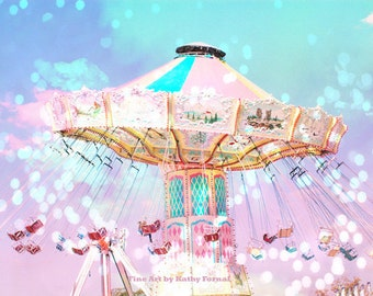 Carnival Nursery Photos, Pink Teal Aqua Baby Girl Nursery Carnival Photography, Baby Girl Nursery Art Decor, Ferris Wheel Photography Prints