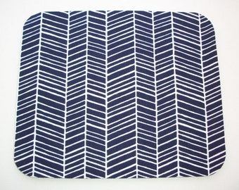 Herringbone Mouse Pad mousepad / Mat - round or Rectangle - chevron navy blue