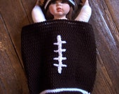 Sale---Just In Time For The SuperBowl Football Baby Cocoon With Hat