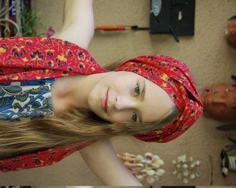 Hippie Neck , Head scarf or Belt - East Indian tapestry - Red Flower pattern may differ.