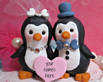Cute Penguin Love Birds Wedding cake topper for Bride and Groom or Anniversary Gift