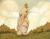 Children's Art - Hello Butterfly Print 5x5 / 7x7 - Bunny Art, Nursery Art for Baby and Children, Butterfly, Kids Decor, Baby, Cute, Kids Art