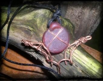 Blood Moon Bat - Copper Wire Pendant OOAK