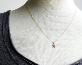 Tiny Gold Star Necklace, Star Necklace Best Friend Jewelry Star jewelry bridesmaid gift gold  Layering Everyday Jewelry , Gold Necklace