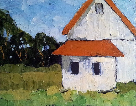 COTTAGE FARMHOUSE Oil PAINTING California Impressionist Plein Air Landscape Lynne French Art 11x14
