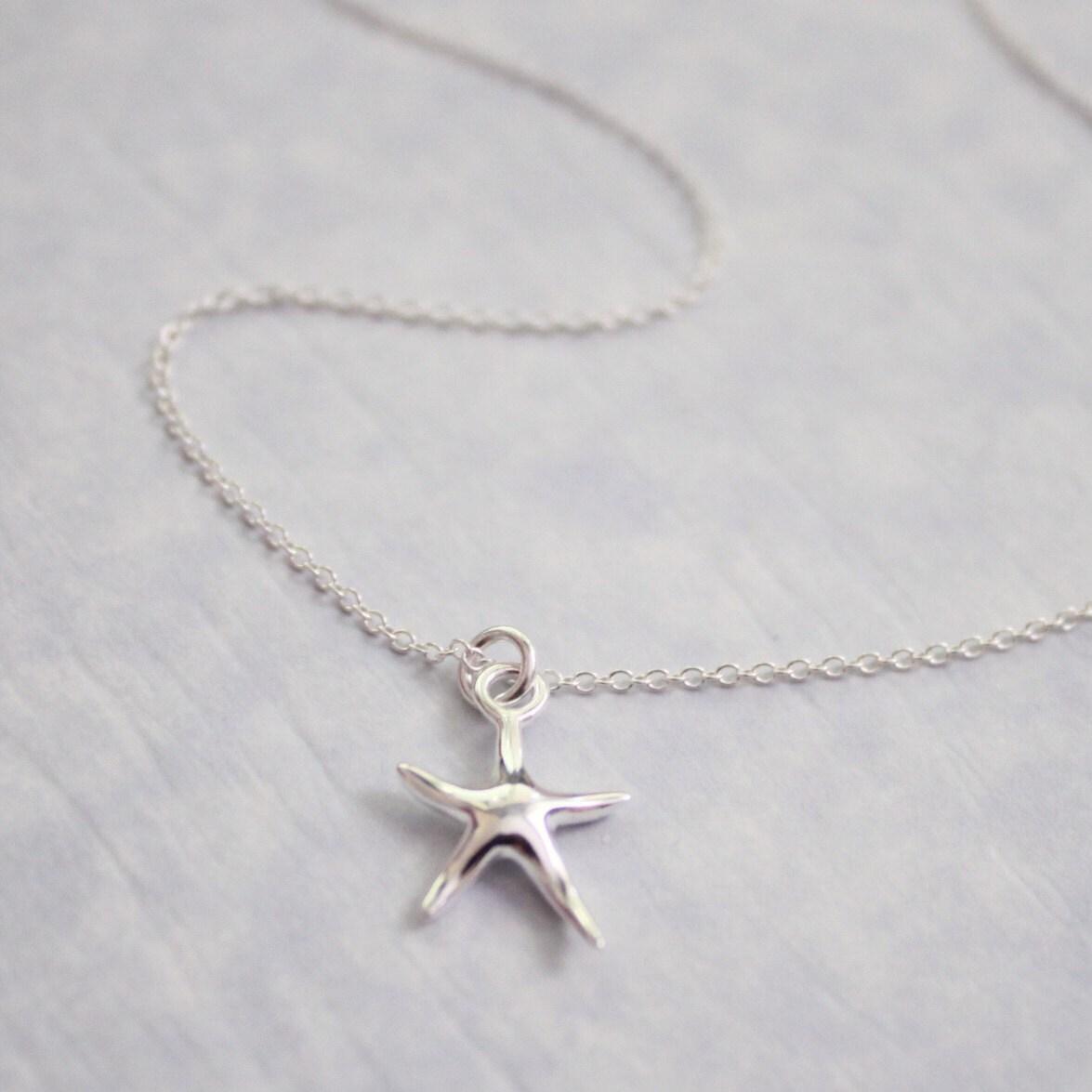 sterling silver starfish necklace bridesmaid gift bridesmaid