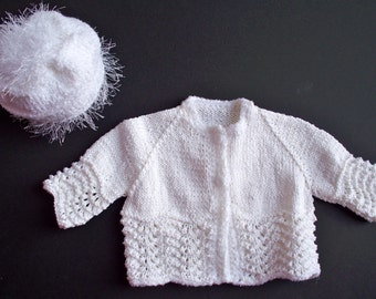White Fan Feather Stitch Raglan Cardigan Sweater Set