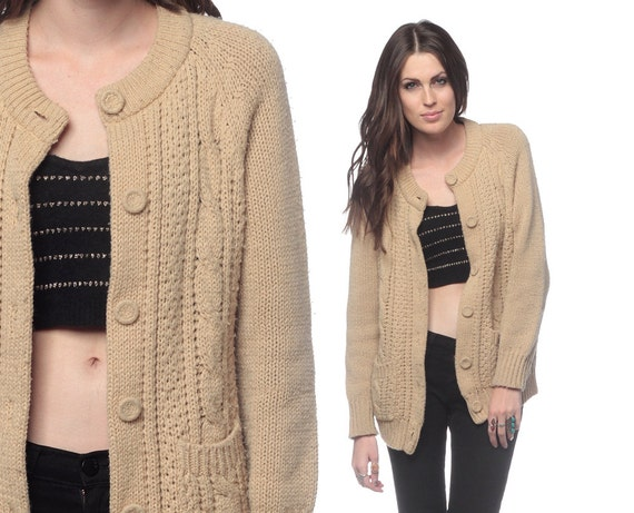 Like this item? - CABLE KNIT Cardigan 70s Tan Sweater Button Up Grandpa Slouchy