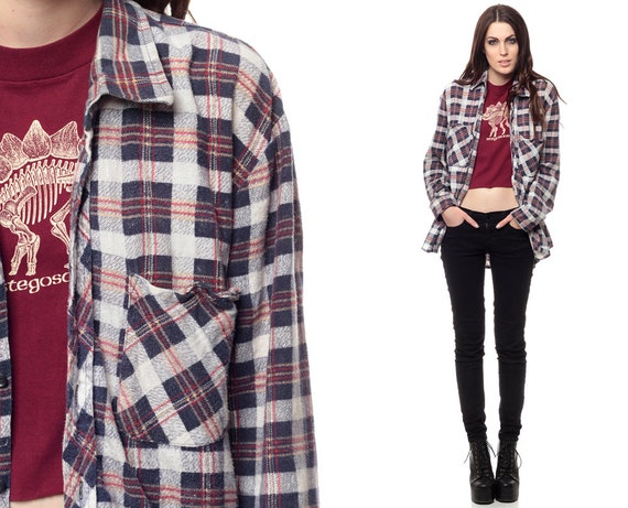 Flannel plaid shirt 90s navy blue white red checkered by for Navy blue and red flannel shirt