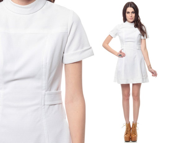 Nurse Dresses Uniforms White White Nurse Dress 60s Mod Mini