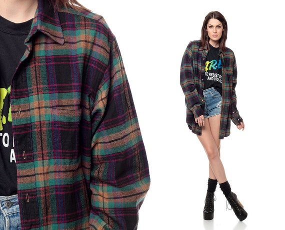 90s flannel shirt long plaid oversized grunge long sleeve. Black Bedroom Furniture Sets. Home Design Ideas