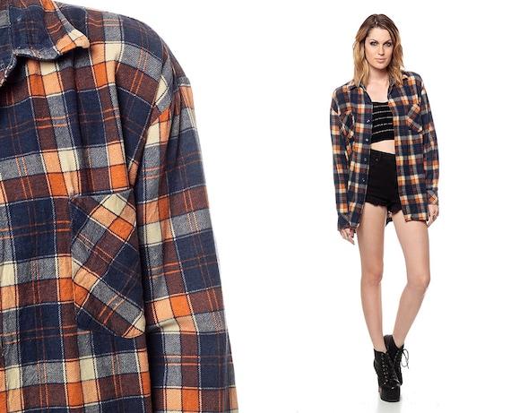 90s flannel shirt navy blue plaid orange grunge checkered for Navy blue plaid shirt