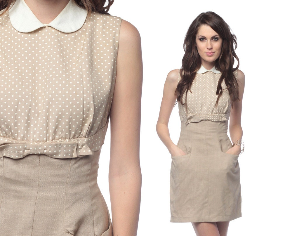RESERVED 1960s Dress Peter Pan Collar Beige BOW Cocktail 60s