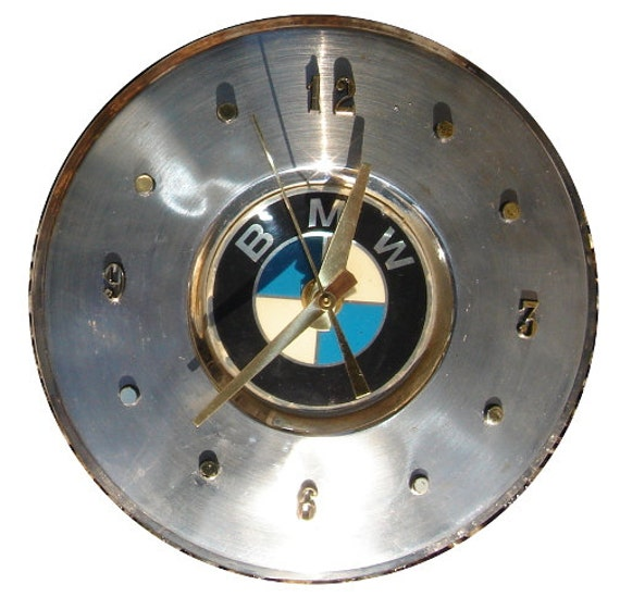 BMW Hubcap Clock, '80s with numbers (h)  recycled wall clock